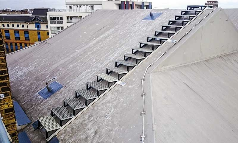 Fixed Roof Access Walkways Fall Arrest Saudi Arabia UAE Oman Bahrain Kuwait Qatar Lebanon Azerbaijan Egypt Dubai Jeddah Russia Middle East Doka Gulf Combisafe TCE Honeywell TSS GCC